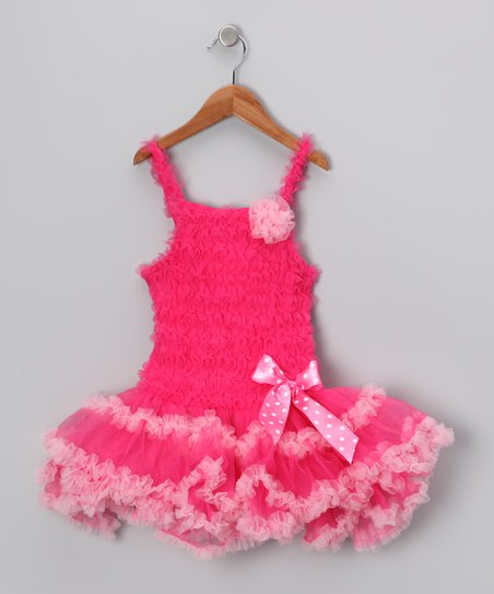 Hot & Light Pink Trim Ruffle Dress - Infant & Toddler