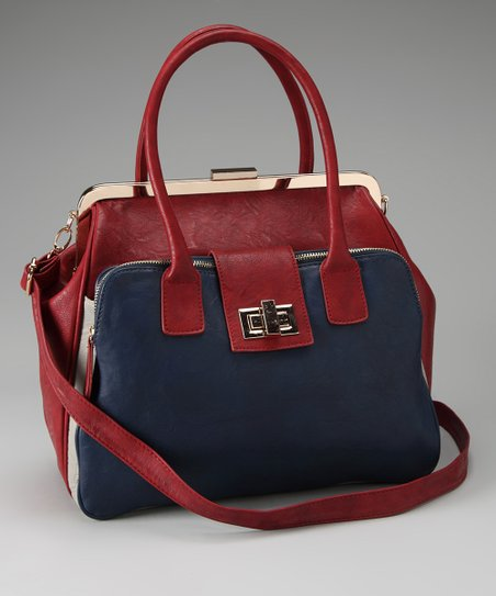 Burgundy & Blue Two-Tone Tote