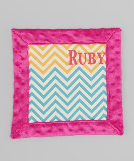 Magenta & Blue Zigzag Personalized Organic Lovey