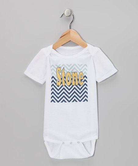 Gray &amp; Slate Zigzag Personalized Organic Bodysuit - Infant