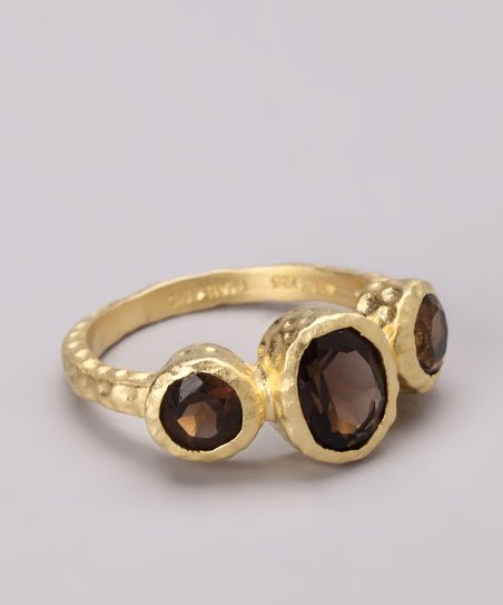 Smoky Quartz & Gold Trio Ring