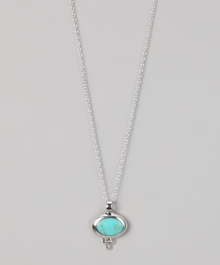 Turquoise & Sterling Silver Small Oval Pendant Necklace