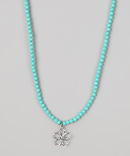Turquoise & Sterling Silver Beaded Flower Pendant Necklace