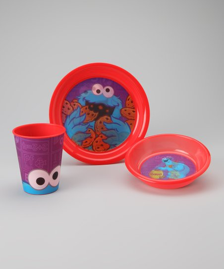 Red Cookie Monster Tableware Set