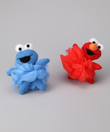 Elmo & Cookie Monster Poofy Pal Loofah Set