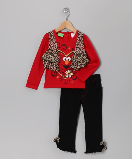 Red Leopard Elmo Layered Tee & Ruffle Pants - Infant & Toddler