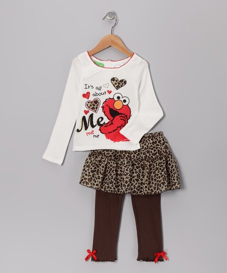 White 'About Me' Tee & Brown Skirted Leggings - Infant & Toddler