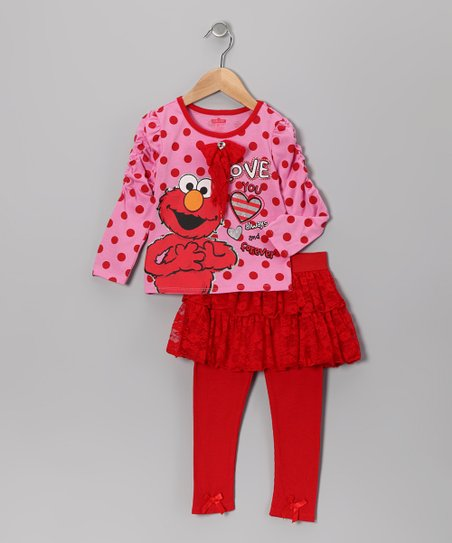 Pink Polka Dot Elmo Tee & Red Skirted Leggings - Infant & Toddler