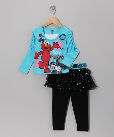Blue Elmo Tee & Black Skirted Leggings - Infant & Toddler
