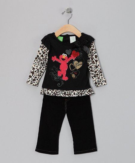 Black Elmo Layered Tee &amp; Pants - Infant