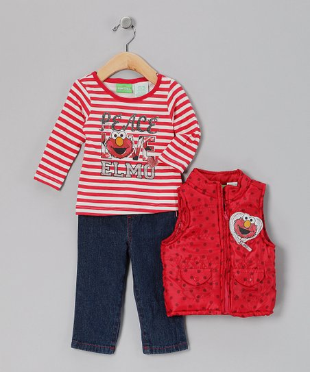 Red Stripe 'Peace Love Elmo' Vest Set - Infant