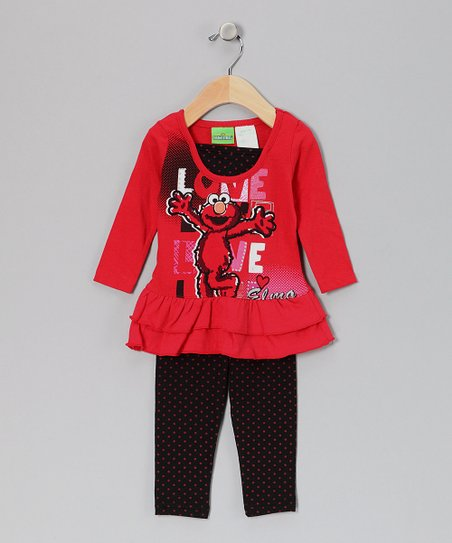 Red 'Love' Elmo Tunic & Leggings - Infant