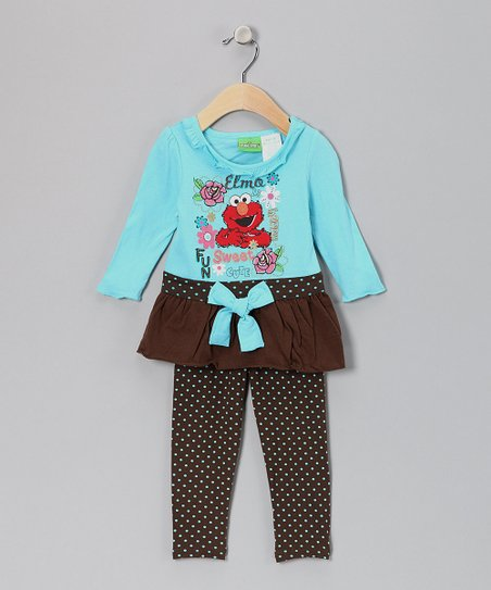 Teal Polka Dot Elmo Tunic & Leggings - Infant