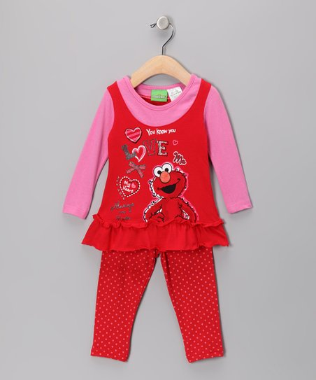 Red & Pink 'Love' Elmo Layered Tunic & Leggings - Infant