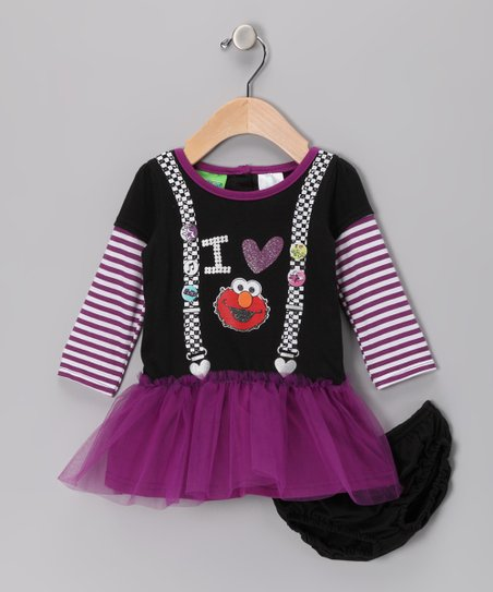 Black & Purple Elmo Dress & Diaper Cover - Infant