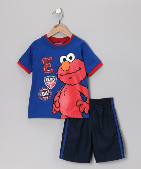 Blue & Black Elmo Tee & Shorts - Infant