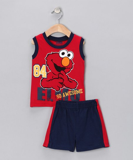 Red &amp; Navy &#039;So Awesome&#039; Elmo Tank &amp; Shorts - Infant