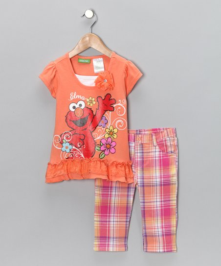 Orange Glitter 'Elmo' Top & Capri Pants - Infant & Toddler