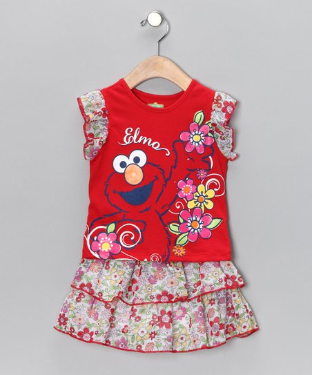Red Floral 'Elmo' Top & Skirt - Toddler