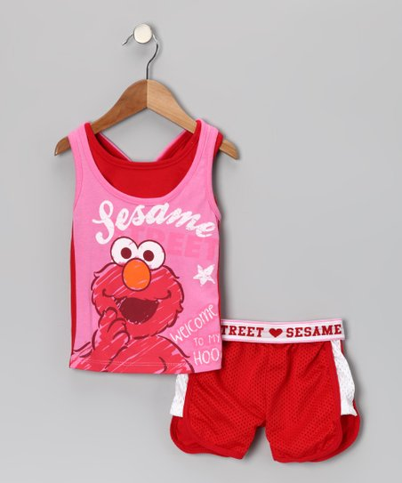 Pink & Red 'Sesame' Elmo Layered Tank & Shorts - Infant & Toddler