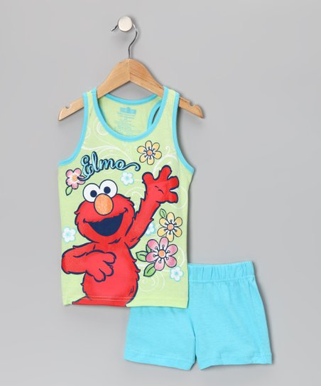 Light Green 'Elmo' Tank & Shorts - Toddler