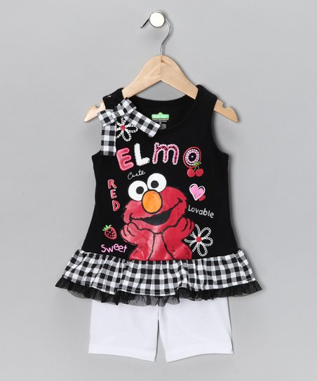 Black & White 'Elmo' Tank & Shorts - Infant