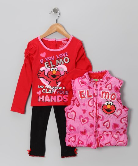 Pink Heart Elmo Puffer Vest Set - Infant & Toddler