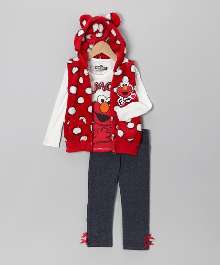 Red Polka Dot Elmo Furry Vest Set - Infant & Toddler