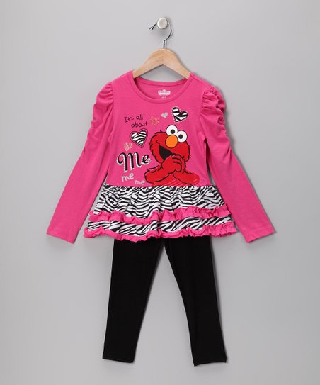 Pink Zebra 'About Me' Tunic & Black Leggings - Infant