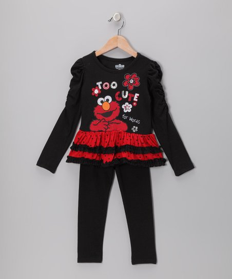 Black Elmo Ruched Ruffle Tunic & Leggings - Infant & Toddler