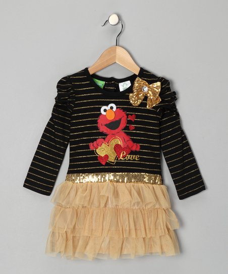 Black & Gold Elmo Dress - Infant & Toddler