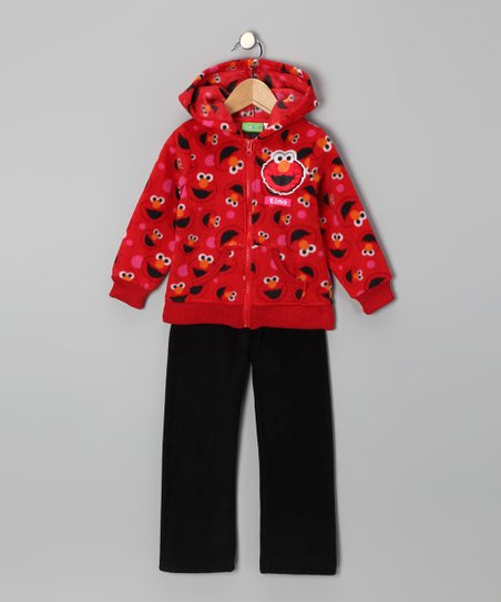 Red Elmo Fleece Zip-Up Hoodie & Pants