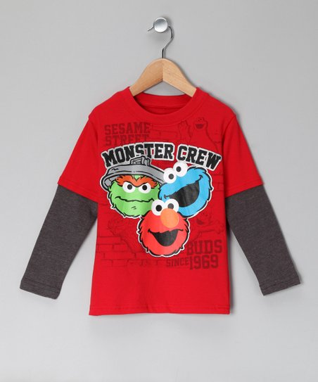 Red 'Monster Crew' Layered Tee - Toddler
