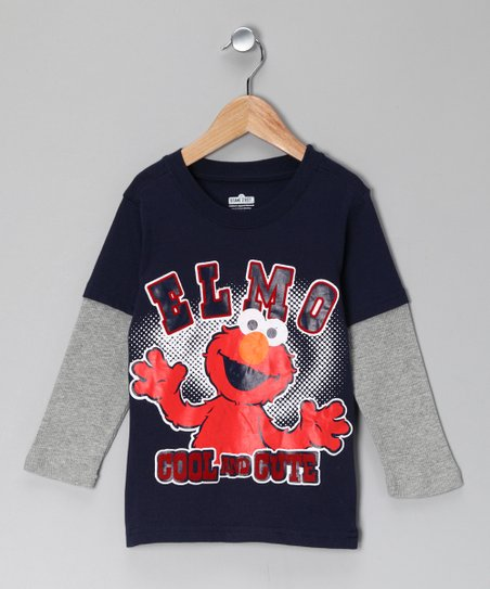 Navy 'Elmo' Layered Tee - Toddler