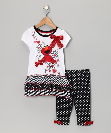 White & Gray 'Elmo' Tunic & Leggings - Infant