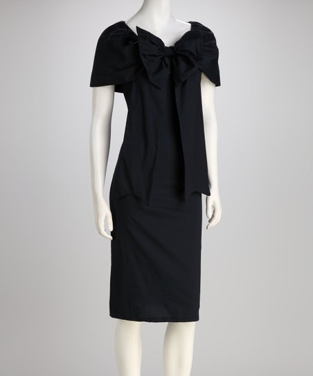 Navy Bethesda Fountain Bow Dress