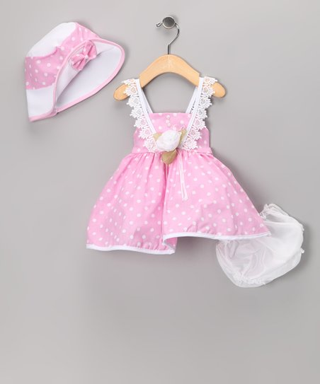 Light Pink Polka Dot Dress Set - Infant