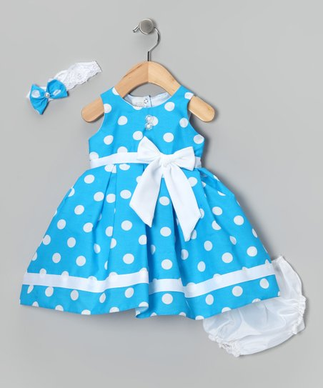 Blue Giant Polka Dot Dress Set - Infant