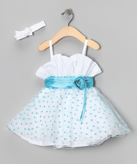 Blue Heart Dress & Headband - Infant & Toddler