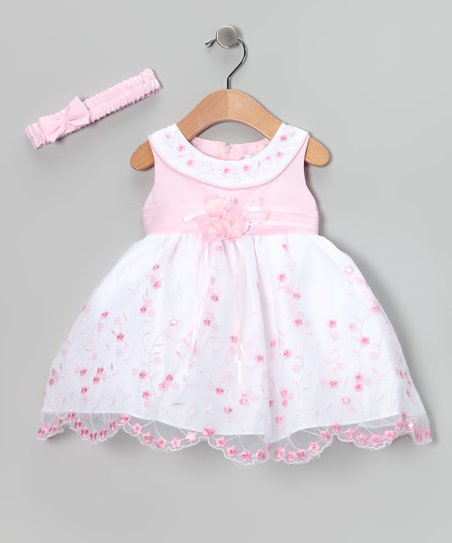 Pink Floral Yoke Dress & Headband - Infant