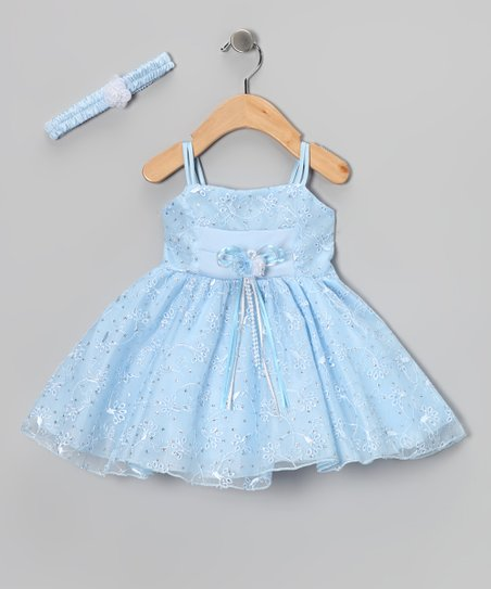 Blue Flower Embroidered Dress &amp; Headband - Infant