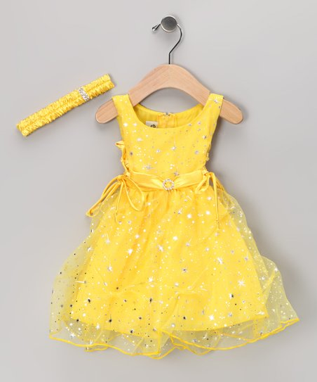 Yellow Star Tulle Dress & Headband