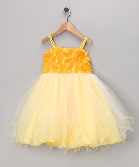 Yellow Rosette Tulle Dress