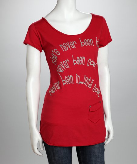 Red 'Until Now' Organic Tunic