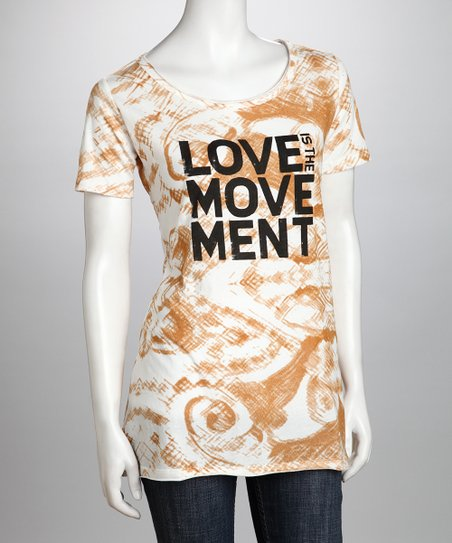 White & Sand 'Love Is the Movement' Organic Tunic