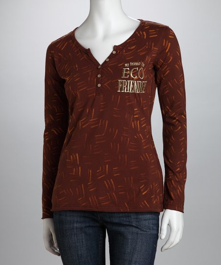 Brown 'My Friends Are Eco Friendly' Organic Henley