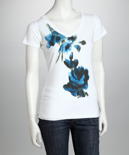 White & Blue Floral Organic Tee - Women