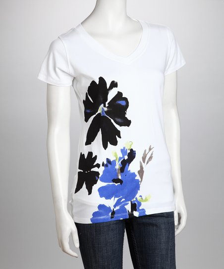 White & Black Flower Organic Tee