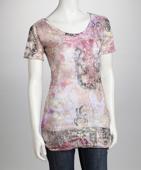 Lavender Paisley Watercolor Organic Tissue Tee - Women