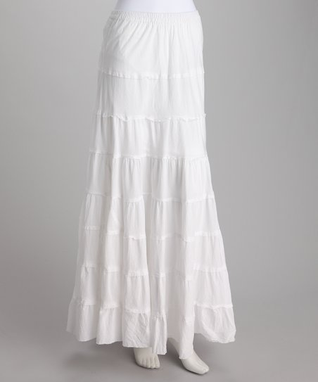 White Tiered Peasant Skirt